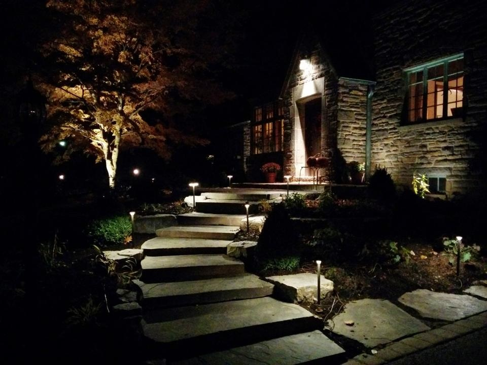 Media PA landscape design enhanced through outdoor lighting