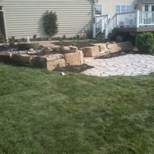 Backyard Stone Patio and Landscape