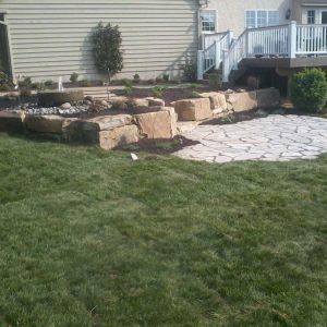 Backyard Stone Patio and Landscape