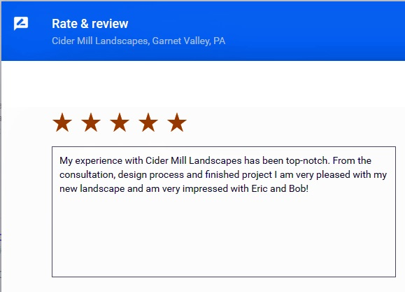 Google plus sample review for Cider Mill Lanscapes