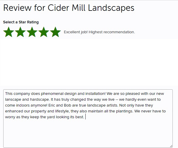 Sample review for Houzz